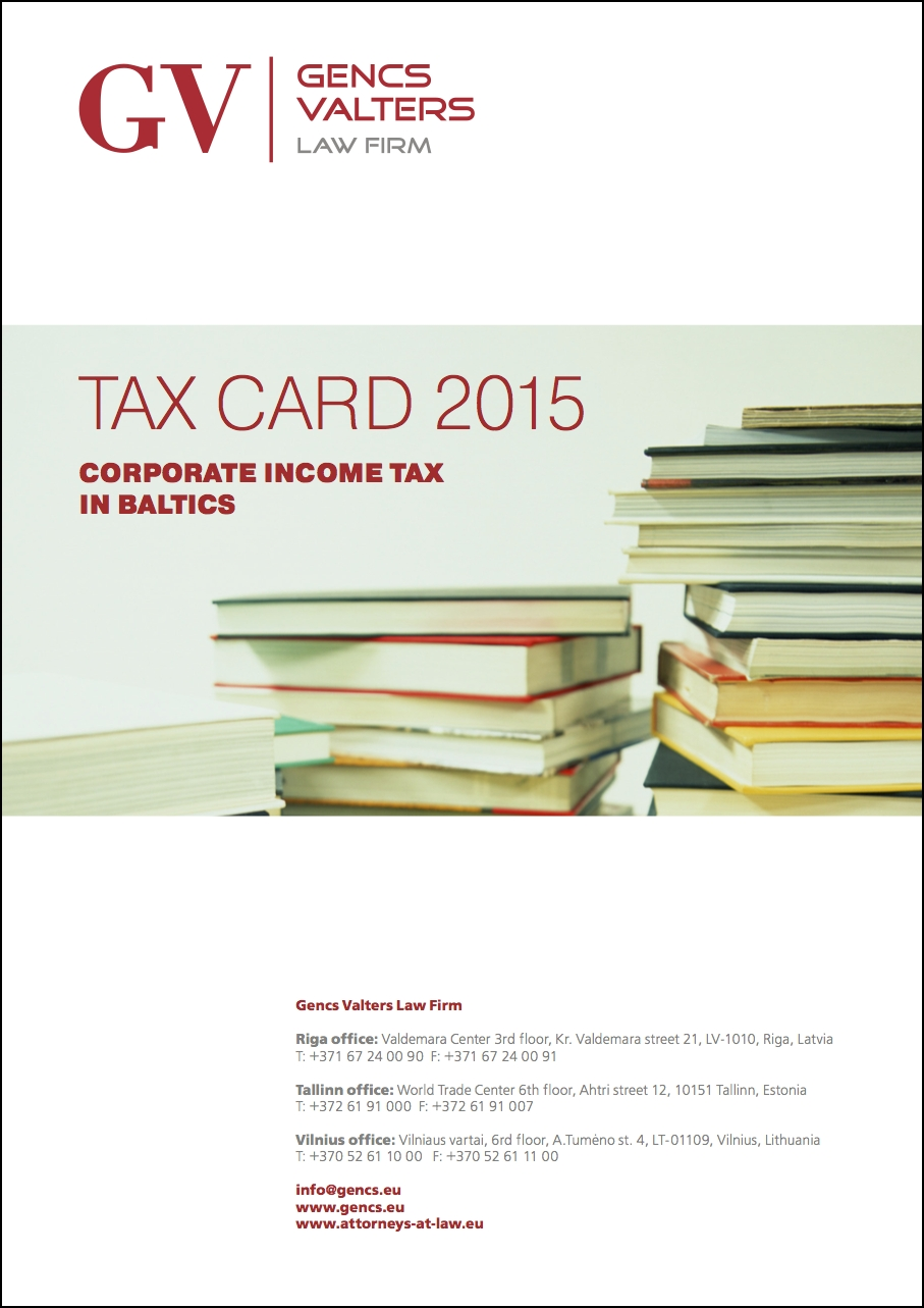 Tax card 2015, Corporate income tax in Baltics: Latvia, Lithuania, Estonia